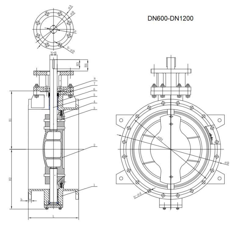 DOUBLE ECCENTRIC BUTTERFLY VALVE..
