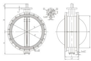 DOUBLE FLANGE BUTTERFLY VALVE.
